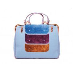 Roberta Di Camerino Blue Canvas Satchel Bag