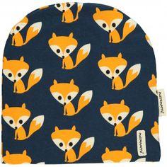 Beanie hat, dark blue with foxes, Maxomorra