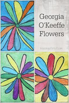 Georgia O'Keeffe Flowers ~ simple art for kids