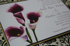 Purple wedding ideas.  if you chose those white with purple cala lilies these could be nice for invitations.