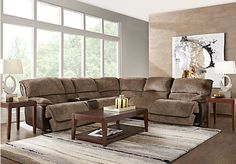 picture of Riverbrook Coffee 9 Pc Reclining Sectional Living Room from Reclining Living Rooms Furniture