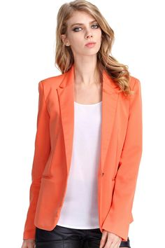 #ROMWE | Single-breasted Orange Blazer, The Latest Street Fashion