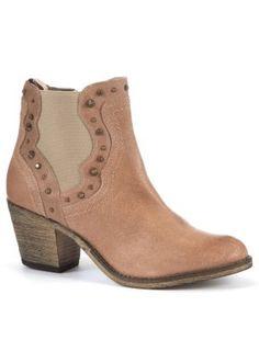 Tan Suede Stud Cowboy Ankle Boots
