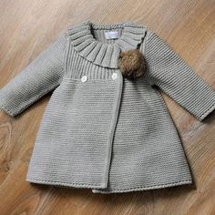 Best Knit Clothes For Baby, Baby knitting patterns on the Best Knit Baby Booties and vest. Knit Baby Dress, Knitted Baby Cardigan, Knit Baby Booties, Knitted Baby Clothes, Knitted Coat, Knit Baby Sweaters, Baby Knitting Patterns, Baby Clothes Patterns, Baby Hats Knitting