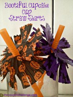 Halloween Dollar Store Craft: Bootiful Cupcake Cup Straw Skirts