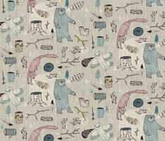 Call of the Wild SMALL (pink) fabric by nouveau_bohemian on Spoonflower - custom fabric