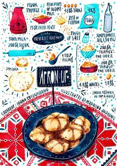 Apron Up (Madalina Andronic) Recipe Drawing, Food Sketch, Watercolor Food, Food Painting, Food Drawing, Kitchen Art, Food Illustrations, Food Design, No Cook Meals