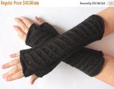 Long Fingerless Gloves Mittens Black 11 Arm Warmers by Initasworks