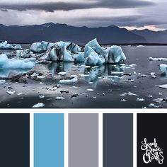 The bright icy blue in this color palette looks great with the grays and blacks... what an amazing photo for color inspiration! | Click for more color schemes inspired by beautiful landscapes and other coloring inspiration at http://sarahrenaeclark.com | Colour palettes, colour schemes, color therapy, mood board, color hue