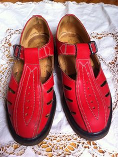 Dr. Martens red leather t-strap Mary Janes circa 1990s
