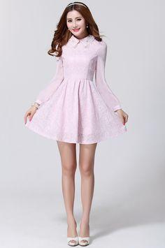 6864abf0390 New Women Long Sleeve Fitted Chiffon Lace Splicing Chiffon Dress  GZYK0011   -  32.87