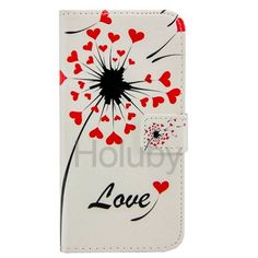Embossment Pattern Magnetic Flip Stand TPU+ PU Leather Case for Samsung Galaxy S6 G9200 - Love Heart Dandelion