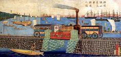 Utagawa Hiroshige III. (1842/43 - 1894) schuf diesen Holzschnitt um 1872/73. Der Bau von Eisenbahnstrecken in den wichtigsten Wirtschaftsregionen wurde in den 1870er Jahren zunächst von der Regierung vorangetrieben. Die erste Linie war die von Tokyo nach Yokohama, dann folgten die Linien Kobe - Osaka und Osaka - Kyoto. Später kamen private Investoren hinzu, was die Entwicklung erheblich voranbrachte, zumal für die Zentralregierung durch die gegen die Meiji-Restauration aufflammende ...