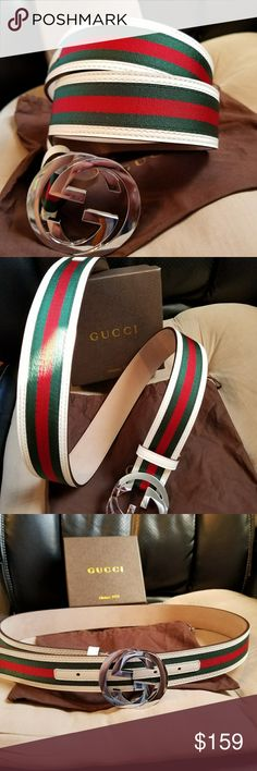 😍Authentic Gucci Belt White Green Red Stripes 😍Authentic Gucci Belt White Green Red with Silver Buckle. Hot! Comes with tags, dust bag and box. Fast Same Day Shipping via USPS Priority. All reasonable offers considered.  *No Trades. If the listing is up its available* Gucci Accessories Belts