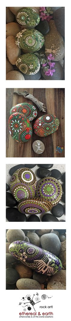 Green Hand Painted Stones - Natural Home Decor - Mandala Inspired Designs - Tribal Art - Rock Art - Garden Art - Free US Shipping - ethereal & earth