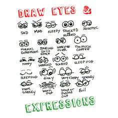 Drawing Cartoon Facial Expressions : How to Draw Eyes Expressions in Cartooning Part 1 « How to Draw Step by Step Drawing Tutorials Introduce adjectives! Cartoon Eyes, Drawing Cartoon Characters, Cartoon Drawings, Art Drawings, Drawing Faces, Cartoon Illustrations, Cartoon Art, How To Draw Steps, Learn To Draw