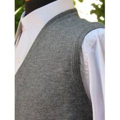 Men's V-Neck Sleeveless Sweater Vest - Grey - 205 High Collar, Cable Knit, Classic Style, Gray Color, Men Sweater, Vest, Silhouette, V Neck, Grey