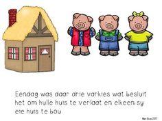 Afrikaans Drie varkies DIE STORIE Health Lesson Plans, Health Lessons, Afrikaans Language, Teacher, How To Plan, Reading, Children, School, Fictional Characters