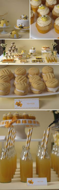 I love bees...love this bee theme. Would be a fun party! The bee hive small cakes are too cute!