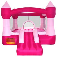 Pink Princess Bounce House Girls Inflatable Castle without Blower Princess Bounce House, Castle Bounce House, Bouncy House, Bouncy Castle, Pink Castle, Princess Castle, Pink Princess, Princess Party, Inflatable Bounce House