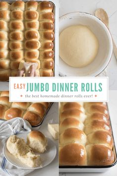 My family has been making this easy Jumbo Dinner Roll recipe for ages. The dough is extra soft and tender thanks to the butter, milk and eggs! So tasty! #dinnerrolls #bread #yeast #baking Milk Recipes, Baking Recipes, Bread Recipes, Homemade Dinner Rolls, Yeast Dinner Rolls Recipe, Yeast Rolls, Bread Rolls, Easy Bread, Food And Drink