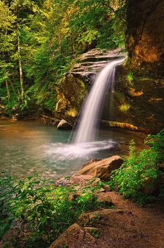 Old Man Cave Lower Falls is a photograph by Ken Cave. This is the Lower Falls at Old Man Cave a 1/2 mile long gourge made up of the Upper Falls, Upper Gorge, Middle Falls, Lower Gorge and Lower Falls. Old Man Cave is part of Hocking Hills State Park in Southern Ohio. Source fineartamerica.com