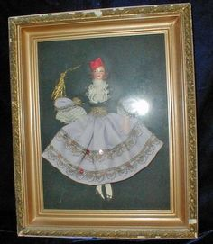 Vintage Hand Painted Paper Mache Face Ribbon Doll Framed | eBay