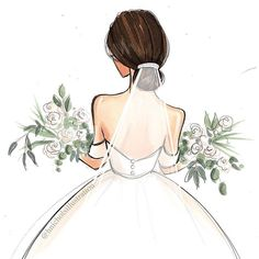 فلاتر سناب's media statistics and analytics Fashion Design Drawings, Fashion Sketches, Art Sketches, Wedding Drawing, Wedding Art, Wedding Dress, Wedding Illustration, Illustration Art, Fashion Illustration Hair