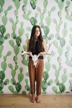 Aquarel Cactus  grote muur muurschildering aquarel door anewalldecor