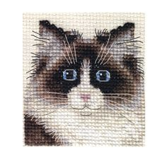 """RAG Doll CAT Kitten Full Counted Cross Stitch KIT Fido Stitch Studio. The picture shows the actual stitched design. size: 2½"""" x 2¾"""" / 6.5 x 7cm 14 count Zeigart aida fabric. Pre-sorted Anchor embroidery threads. Needle. Easy to read b/w symbol chart and full sewing instructions. N.B. Not recommended for children under 7 years of age. http://www.ebay.com.au/itm/RAG-DOLL-CAT-KITTEN-Full-counted-cross-stitch-kit-All-materials-/280944518503?pt=UK_Crafts_CrossStitch_RL=item4169992567&_uhb=1"""