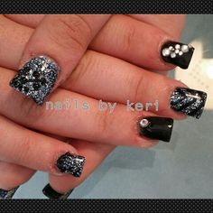 Black and gunmetal acrylic nails