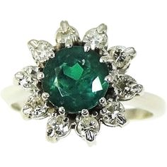 RARE Gilson Emerald Diamond Cocktail Ring 14k Exceptional Vintage