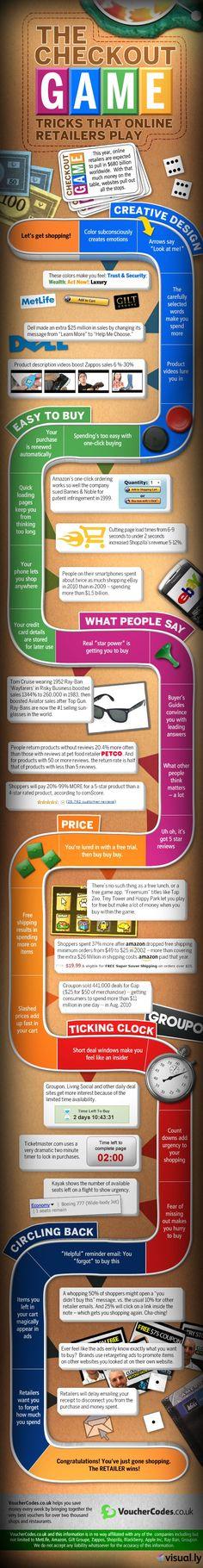 [Infographie] Les subterfuges utilisés en ecommerce pour inciter à l'achat || The Checkout Game - Tricks That Online Retailers Play #ecommerce #digital #marekting