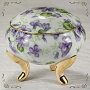 Elegant Porcelain Hand Painted Violets Gild-ed Gold Leaf Pedestal Foot Trinket Box