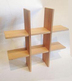 Items similar to wood shelf - tick tack toe design on Etsy Diy Furniture Building, Diy Furniture Easy, Furniture Design, Creative Bookshelves, Bookshelf Design, 5 Shelf Bookcase, Wood Shelves, Wood Columns, Beautiful Home Designs