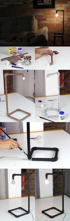 Veja o tutorial completo e em vídeo dessa luminária industrial no blog: http://modacustom.com.br/2016/09/23/luminaria-industrial-diy-para-decoracao/