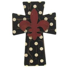 Polka Dot Wall Cross with Red Fleur-De-Lis | Shop Hobby Lobby