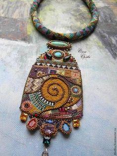"""Necklace beads handmade.  Order Pendant """"By Klimt"""".  Olga Orlova.  Fair Masters.  Klimt"""