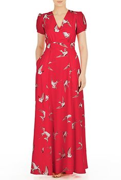 1930s style long day dress. Bird print crepe surplice maxi dress $94.95 AT vintagedancer.com