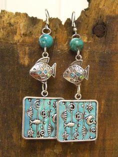 Ocean theme dangle earrings by 5DogsDesigns on Etsy