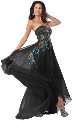Meier Women's Strapless Peacock Embroidery Chiffon Gown at Amazon Women's Clothing store: Dresses