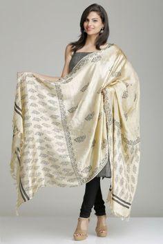 Beige Kela Silk Dupatta With Floral Hand Block Print