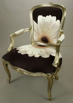Trimble Chair with digitally printed Gerber Daisy Pattern on Opusuede Fabric °°