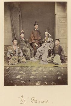 'No' Dancers; Shinichi Suzuki (Japanese, 1835 - 1919); Japan; about 1873 - 1883; Hand-colored albumen silver print; 17.1 x 12.9 cm (6 3/4 x 5 1/16 in.); 84.XA.765.8.35
