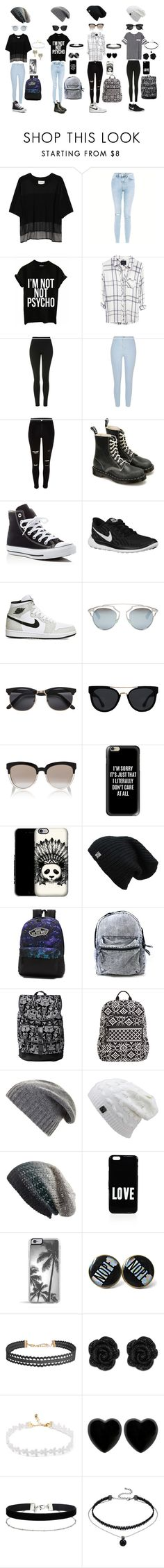"""Black, grey and white"" by draw4me ❤ liked on Polyvore featuring Public School, New Look, Victoria's Secret, Topshop, River Island, Dr. Martens, Converse, NIKE, Christian Dior and Quay"