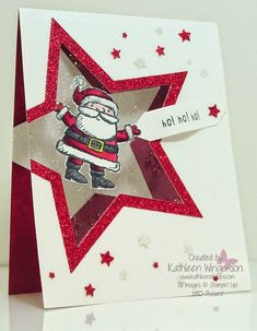 Check out this cute and unique Christmas card made with the Get Your Santa On stamp set from Stampin Up by Kathleen Wingerson www.kathleenstamps.com