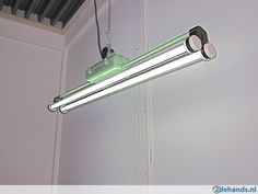 Mooie originele industriële TL lamp, vintage, Bauhaus design
