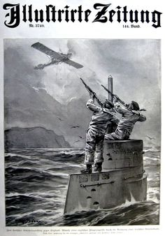 Willy Stöwer Défense d'un sous-marin contre les avions anglais 1915 BFD