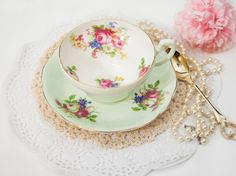 SALE Mint Green Foley Teacup Bone China, Porcelain, Floral Tea Cup, Pink Blue, Christmas Gift for Her Bridal Shower Vintage Tea Party