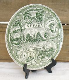 Vintage Green Nevada State Travel Plate, Commemorative Plate, Travel Plate, State Collector Plate, Souvenir State Plate, Vacation Plate by AgsVintageCove on Etsy